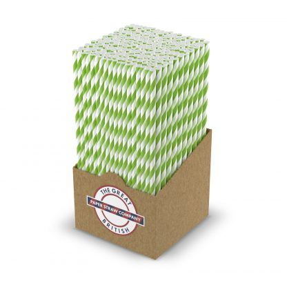 box of white and green striped straw
