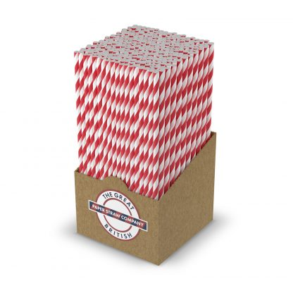 box of white and red striped straw