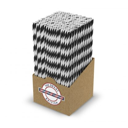 box of black and white straws