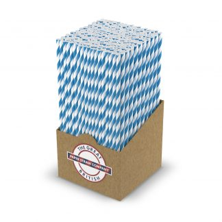 box of white and blue striped straw